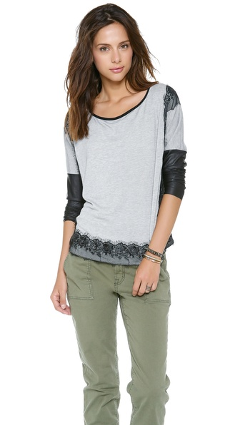 Tbags Los Angeles Sweater with Lace