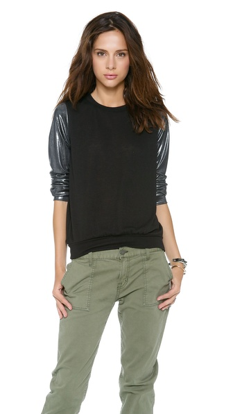 Tbags Los Angeles Metallic Sleeves Sweater