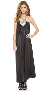 Tbags Los Angeles Faux Leather Long Dress