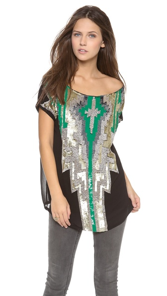 Tbags Los Angeles Aztec Sequin Top