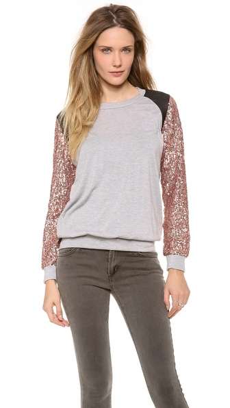 Tbags Los Angeles Sequin Sleeve Top