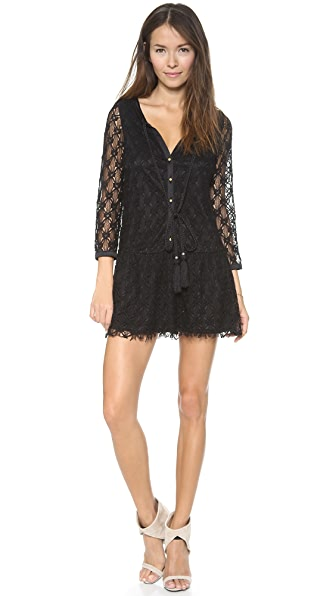 Tbags Los Angeles 3/4 Sleeve Crochet Mini Dress