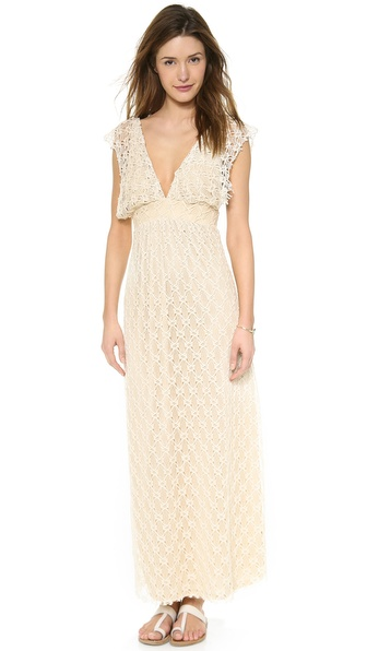 Tbags Los Angeles V Neck Crochet Maxi Dress