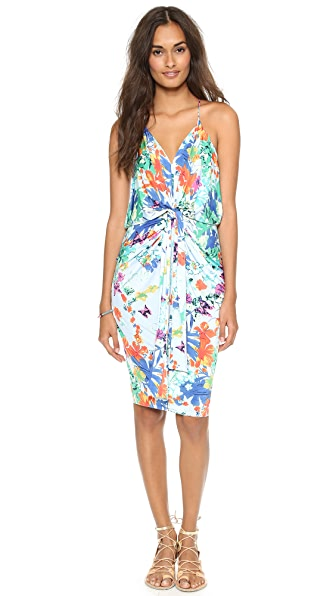 Tbags Los Angeles V Neck Dress with Knot Detail