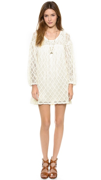 Tbags Los Angeles Crochet Long Sleeve Dress