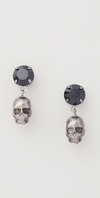 TOM BINNS Della Notte Crystal & Skull Earrings