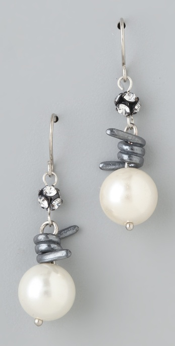TOM BINNS Jackie Ouch Barbwire & Pearl Earrings