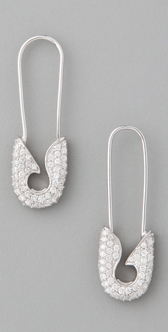 TOM BINNS Bejeweled Small Pave Safety Pin Earrings
