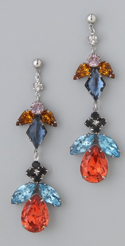TOM BINNS Faux Real Medium Crystal Earrings