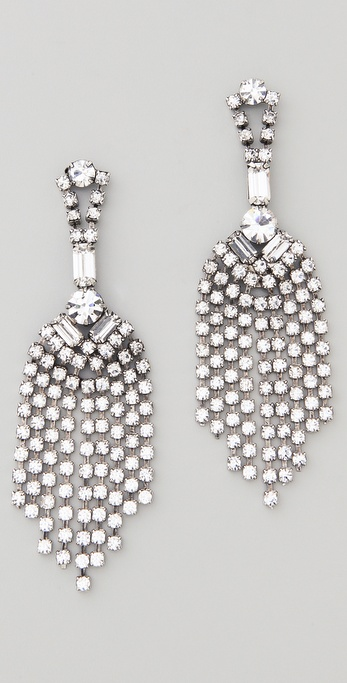 TOM BINNS Madame Dumont Crystal Fringed Earrings