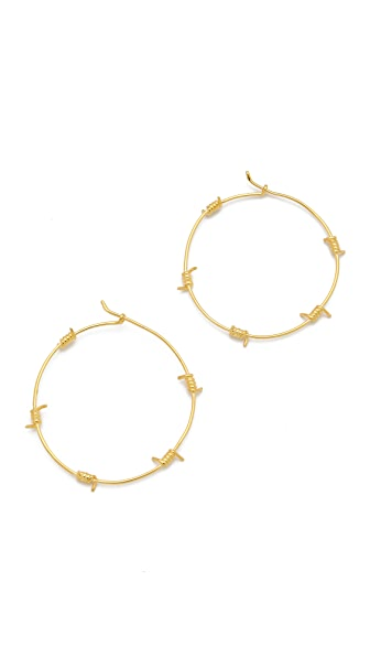 TOM BINNS Barricade Babe Barb Wire Hoop Earrings