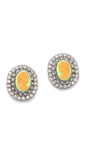 TOM BINNS Cameo Jobim Pearl & Crystal Earrings
