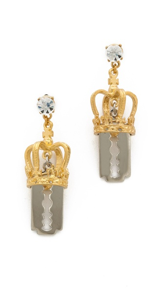 TOM BINNS Crown & Razor Blade Earrings