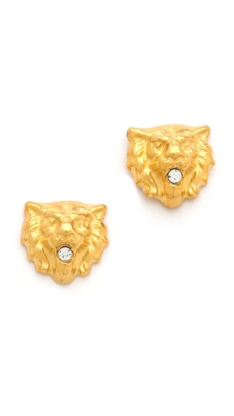 TOM BINNS Crystal Lion Earrings