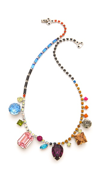 TOM BINNS Multi Size Crystal Necklace