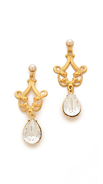 TOM BINNS Rokoco Teardop Crystal Earrings