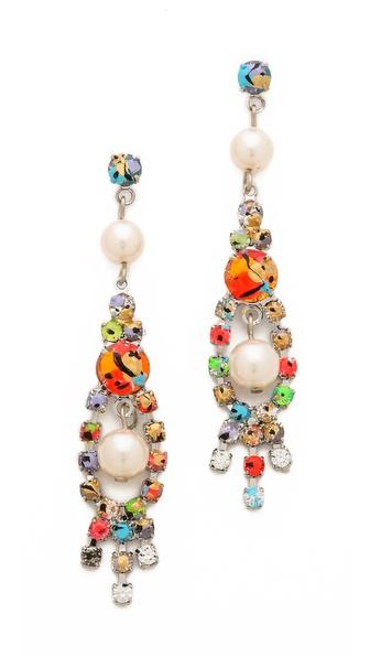 TOM BINNS Splattered Paint Crystal Earrings