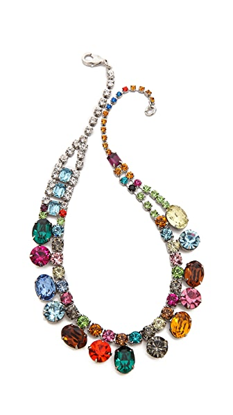 TOM BINNS Faux Real Asymmetrical Crystal Necklace