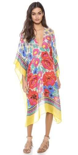 Shop Theodora & Callum online and buy Theodora & Callum Havana Caftan - FREE SHIPPING at shopbop.com. A vibrant abstract print lends visual interest to this gauzy Theodora & Callum cover-up. Short sleeves. Double-V neckline.  Fabric: Gauze. 62% linen/38% viscose. Hand wash. Imported, India.  MEASUREMENTS Length: 40in / 102cm, from shoulder - Bright Multi