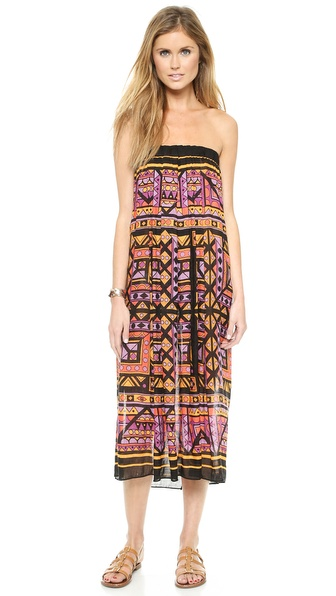 Shop Theodora & Callum online and buy Theodora & Callum Giza Tube Dress / Maxi Skirt Black Multi - Styled in a geometric inspired pattern, this convertible Theodora & Callum silhouette can worn as an ankle grazing maxi skirt or airy tube dress. Ruched elastic defines the top hem. Semi sheer. Fabric: Gauze. 62% linen/38% viscose. Hand wash. Imported, India. Measurements Length: 39.25in / 100cm. Available sizes: One Size