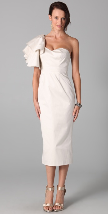 Temperley London One Shoulder Ruffle Dress