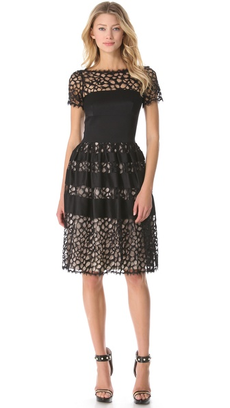 Temperley London Graphic Tile Lace Dress