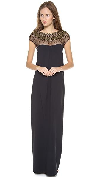Temperley London Crystal Cap Sleeve Gown