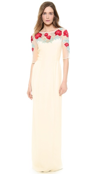 Temperley London Long Magnolia Embroidered Dress