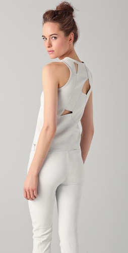 Tess Giberson Leather Top with Slash Back
