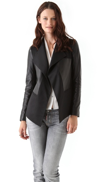 Tess Giberson Draped Blazer with Leather Trim