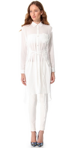 Tess Giberson Shirt Dress with Round Hem
