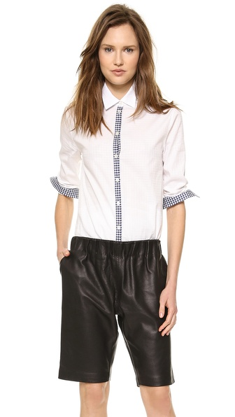 Tess Giberson Button Down Shirt With Plaid Detail - White/Plaid