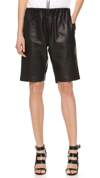 Tess Giberson Leather Sweat Shorts