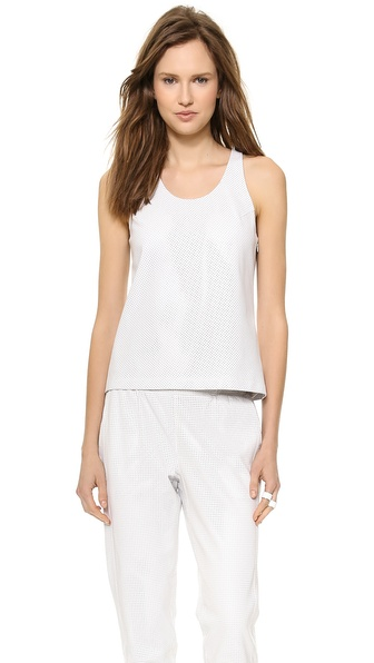 Tess Giberson Perforated Leather Tank - White
