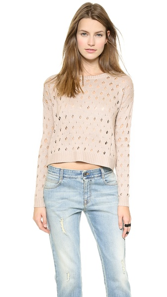 Tess Giberson Cropped Knit Pointelle Sweater - Oatmeal