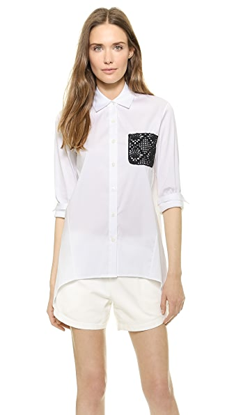 Tess Giberson Shirt With Crochet Pocket - White/Black