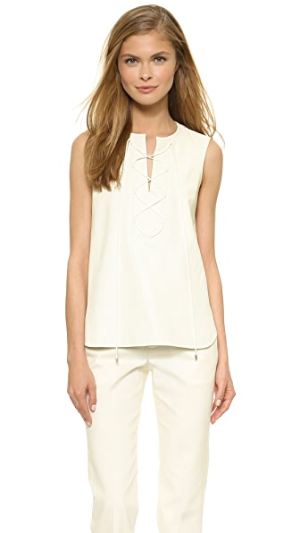 Tess Giberson Lace Up Top - White