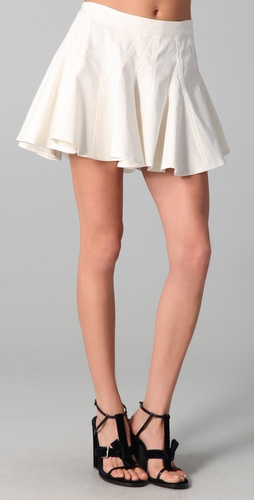 Thakoon Addition White Denim Ruffle Skirt