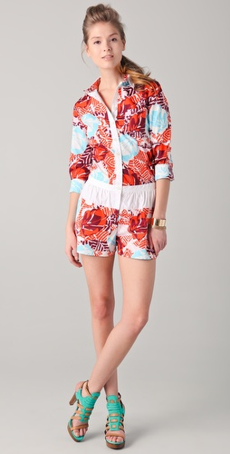Thakoon Addition Hawaiian Print Long Sleeve Romper