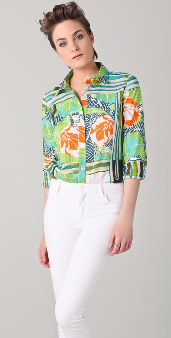 Thakoon Addition Hawaiian Surf Print Blouse