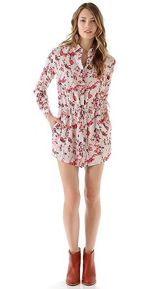 Thakoon Addition Flower Camo Drawstring Shirtdress