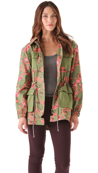 Thakoon Addition Flower Camo Utility Pocket Coat