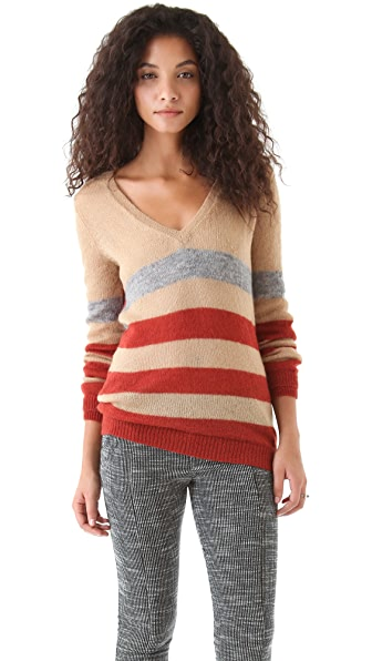 Thakoon Addition Striped V Neck Sweater