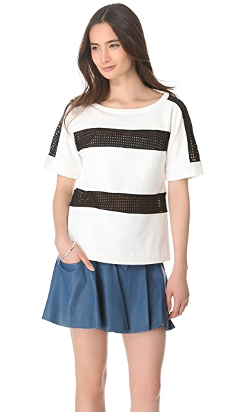 Thakoon Addition Eyelet Stripe Top