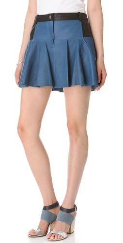 Thakoon Addition Leather Combo Mini Skirt