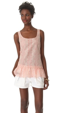 Thakoon Addition Lace Print Ruffle Tank