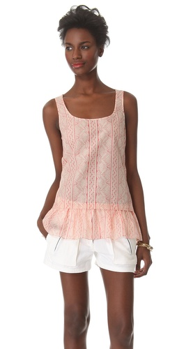 Shop Thakoon Addition Lace Print Ruffle Tank and Thakoon Addition online - Apparel,Womens,Tops,Blouse, online Store