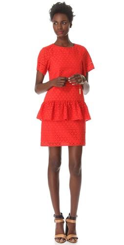 Thakoon Addition Eyelet Peplum Dress