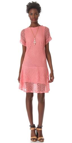 Thakoon Addition Crochet Short Sleeve Dress