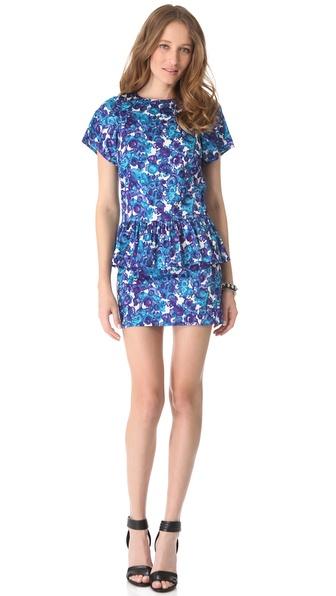 Thakoon Addition Watercolor Floral Peplum Dress